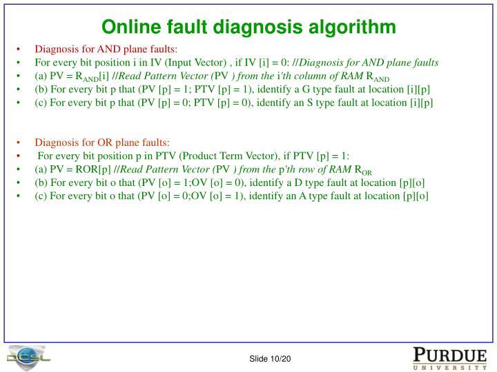 Online fault diagnosis algorithm