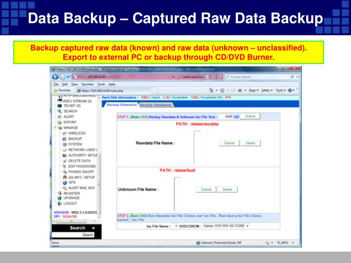Data Backup – Captured Raw Data Backup