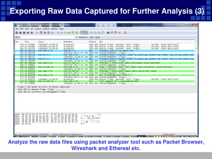Exporting Raw Data Captured for Further Analysis (3)