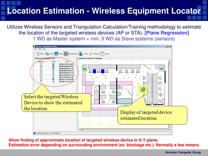 Location Estimation - Wireless Equipment Locator