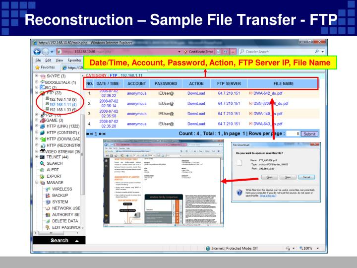 Reconstruction – Sample File Transfer - FTP