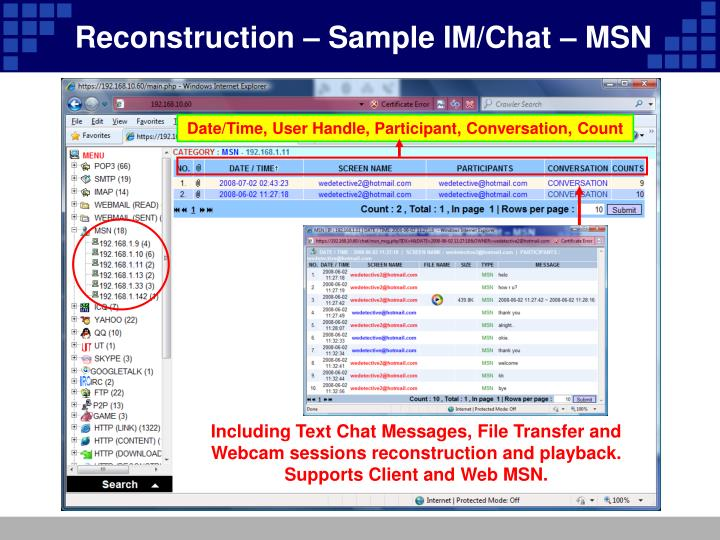 Reconstruction – Sample IM/Chat – MSN
