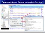 reconstruction sample incomplete sessions