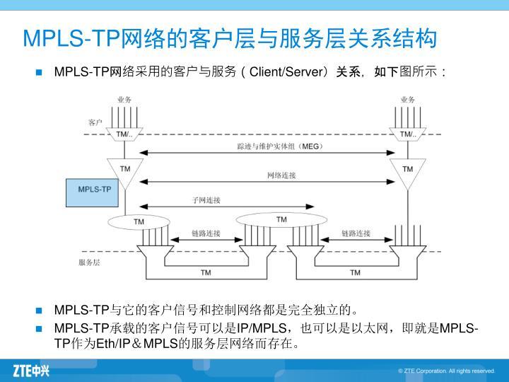 MPLS-TP网络的客户层与服务层关系结构