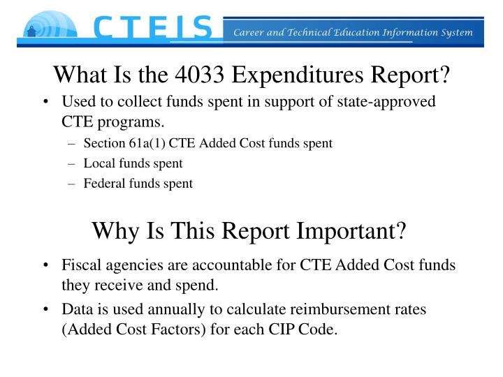 What Is the 4033 Expenditures Report?