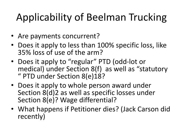 Applicability of Beelman Trucking