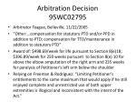 arbitration decision 95wc02795