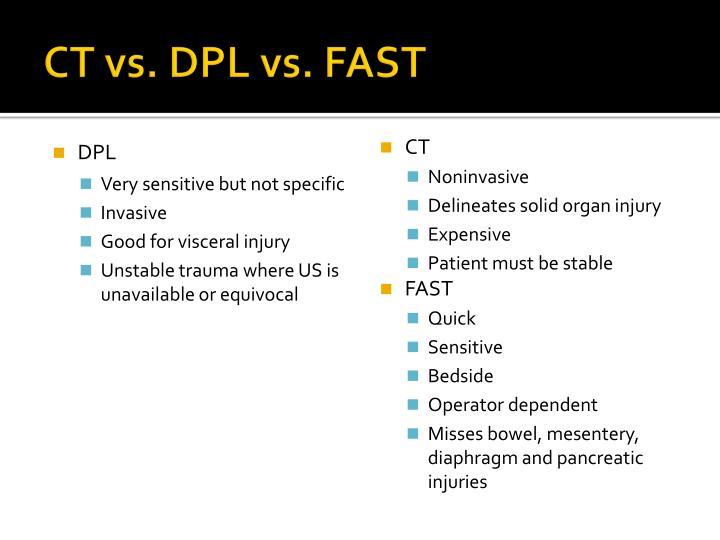 CT vs. DPL vs. FAST