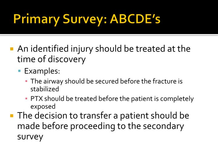 Primary Survey: ABCDE's