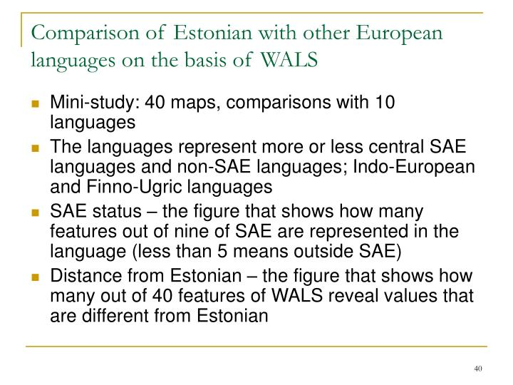 Comparison of Estonian with other European languages on the basis of WALS