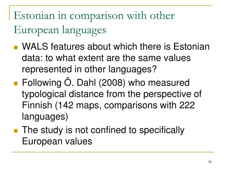 Estonian in comparison with other European languages