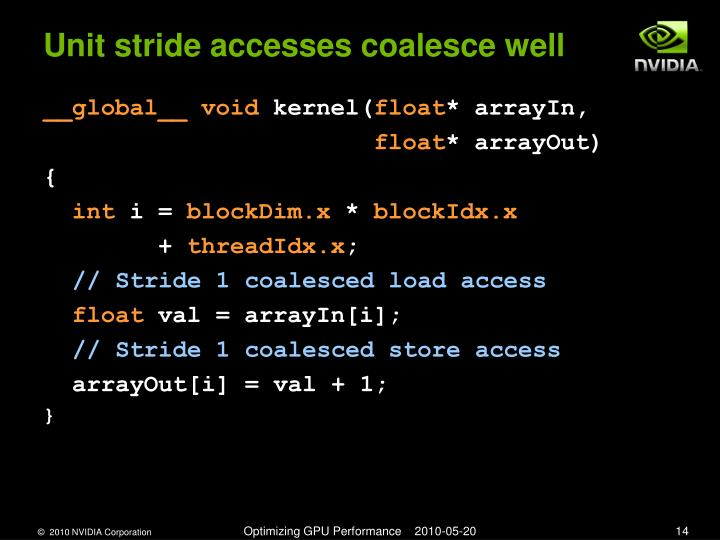 Unit stride accesses coalesce well