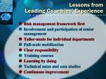 lessons from leading countries experience