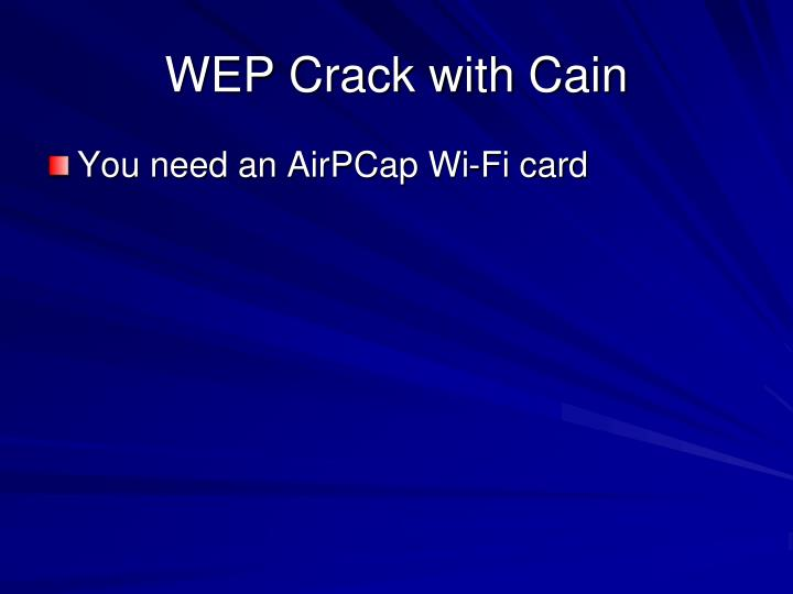 WEP Crack with Cain