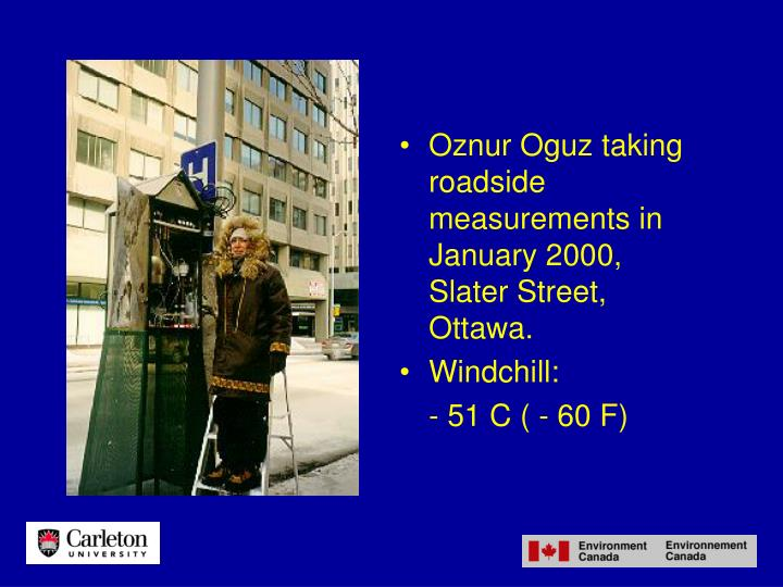 Oznur Oguz taking roadside measurements in January 2000, Slater Street, Ottawa.