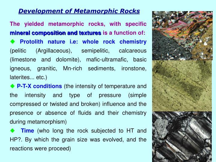 Development of Metamorphic Rocks