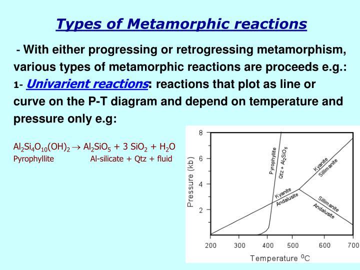 Types of Metamorphic reactions