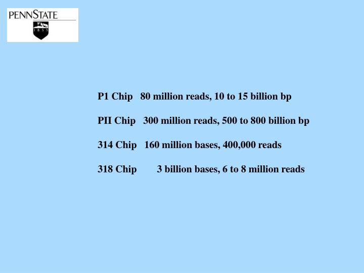 P1 Chip   80 million reads, 10 to 15 billion bp