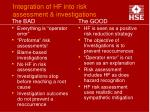 integration of hf into risk assessment investigations