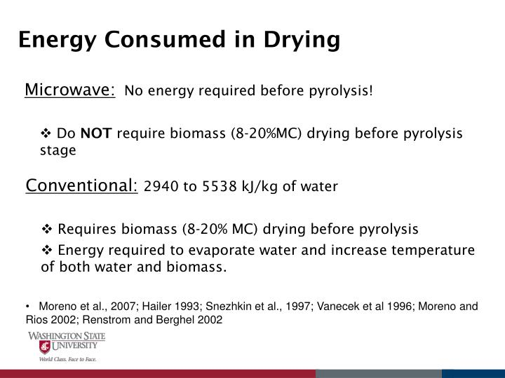 Energy Consumed in Drying