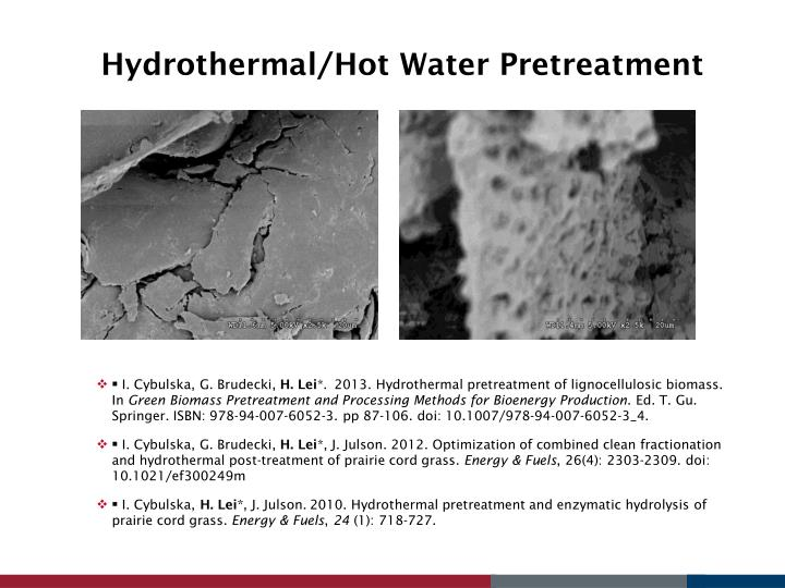 Hydrothermal/Hot Water Pretreatment