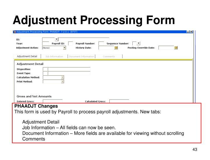 Adjustment Processing Form