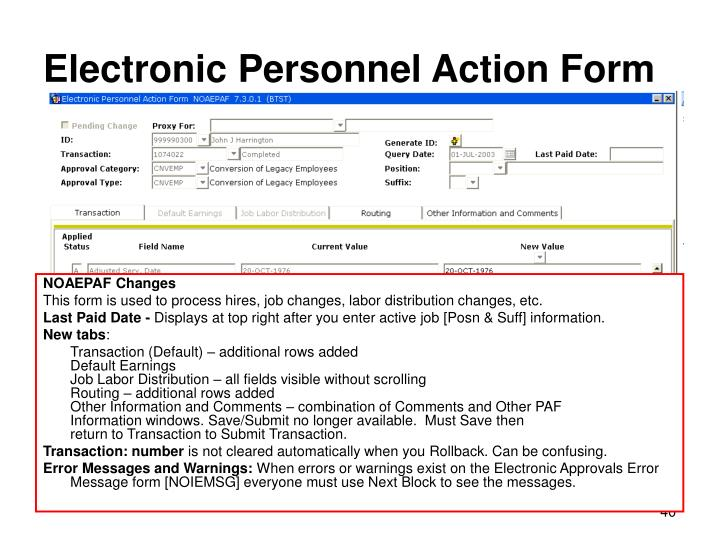 Electronic Personnel Action Form
