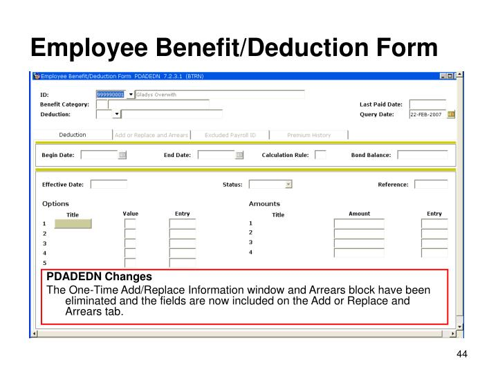 Employee Benefit/Deduction Form