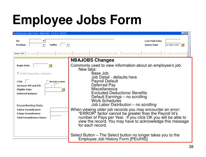 Employee Jobs Form