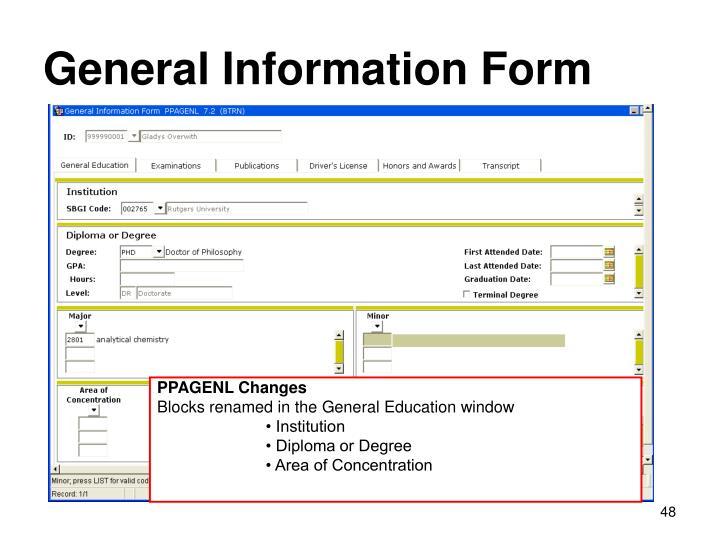 General Information Form