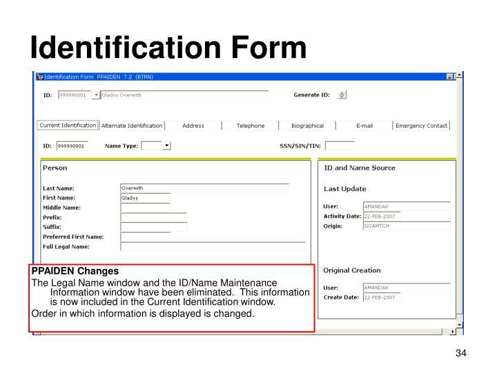 Identification Form