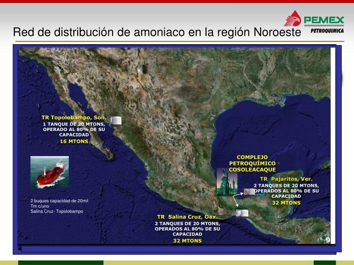 Red de distribución de amoniaco en la región Noroeste
