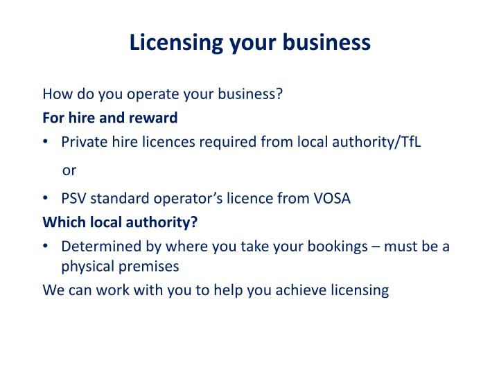 Licensing your business