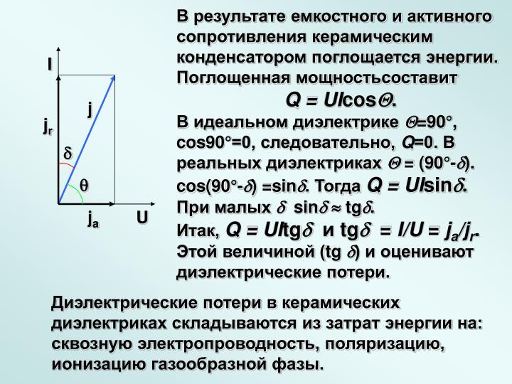 В результате емкостного и активного сопротивления керамическим конденсатором поглощается энергии. Поглощенная мощностьсоставит