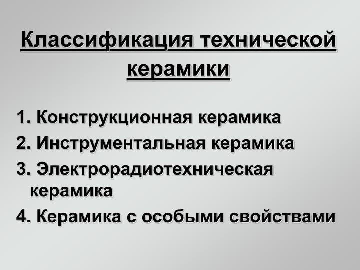 Классификация технической керамики