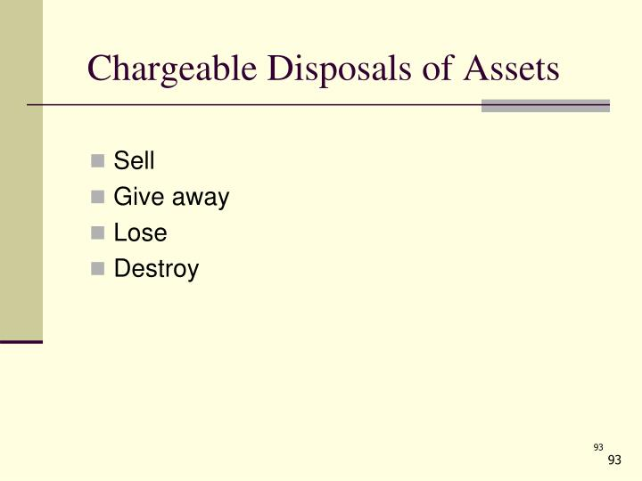 Chargeable Disposals of Assets