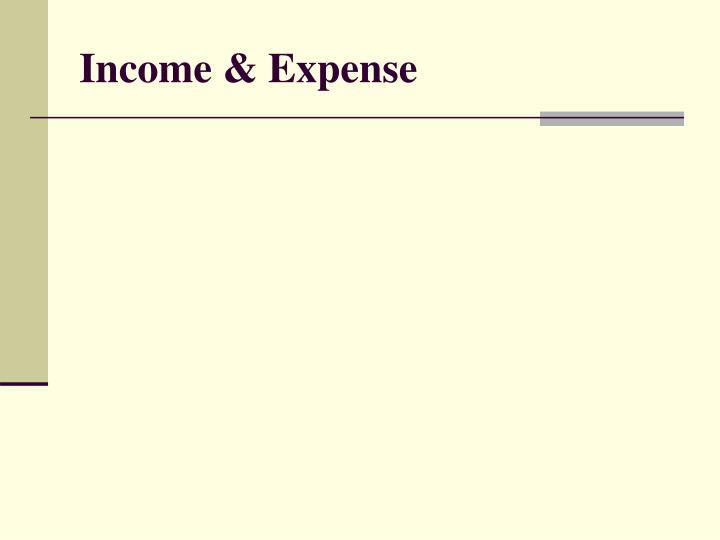 Income & Expense