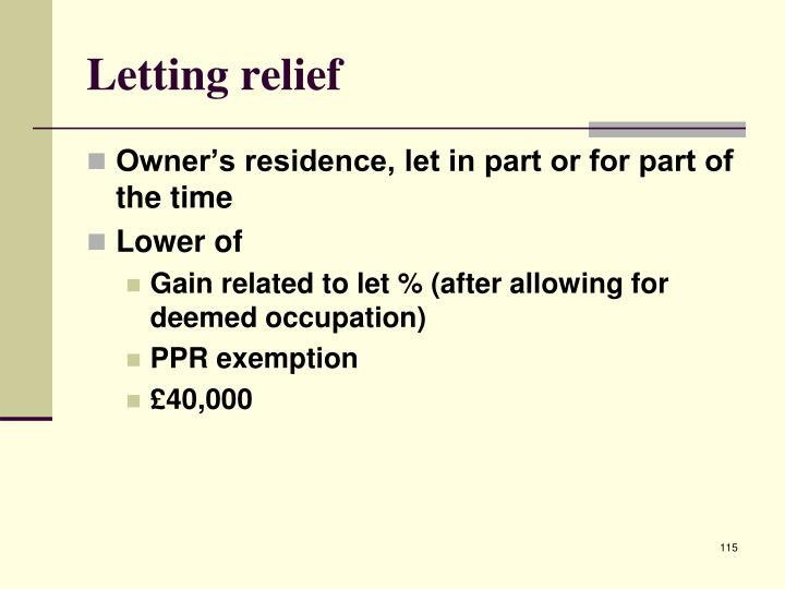 Letting relief