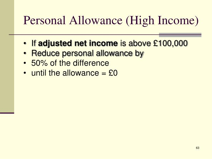 Personal Allowance (High Income)
