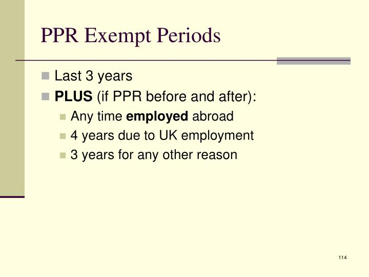 PPR Exempt Periods