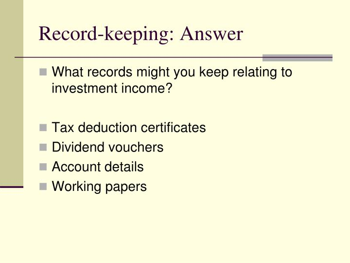 Record-keeping: Answer