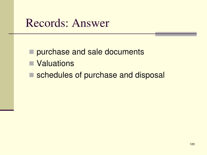Records: Answer