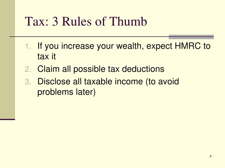 Tax: 3 Rules of Thumb