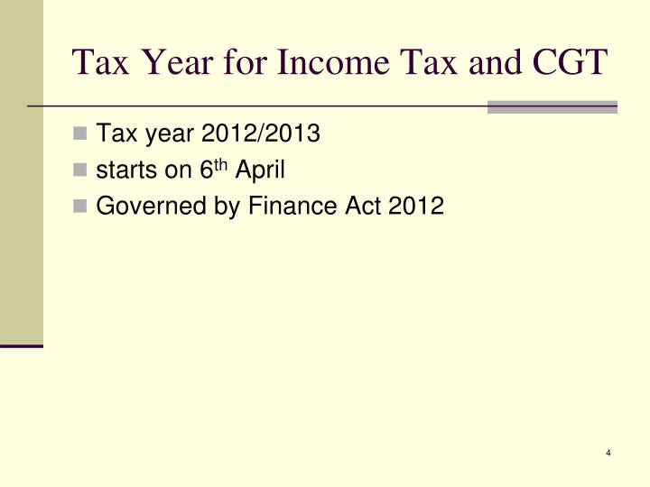 Tax Year for Income Tax and CGT
