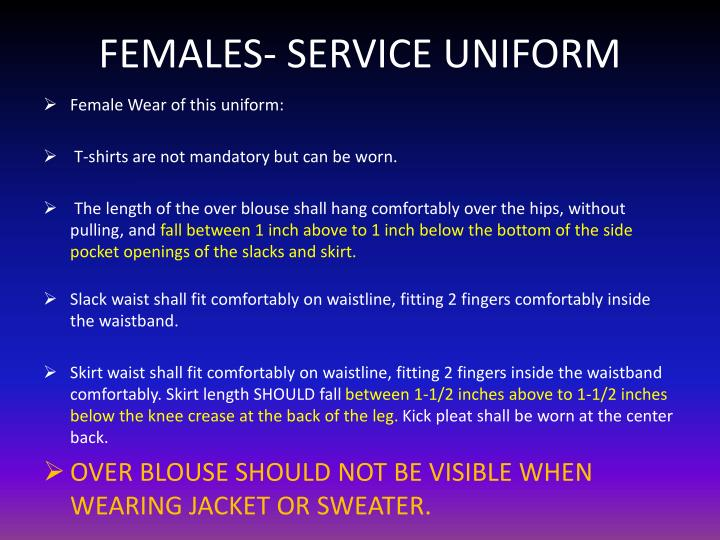 FEMALES- SERVICE UNIFORM