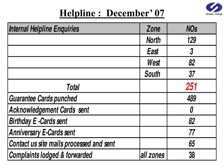 Helpline :  December' 07