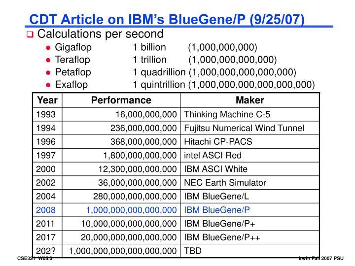 CDT Article on IBM's BlueGene/P (9/25/07)