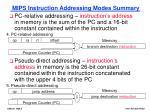 mips instruction addressing modes summary