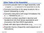 other tasks of the assembler