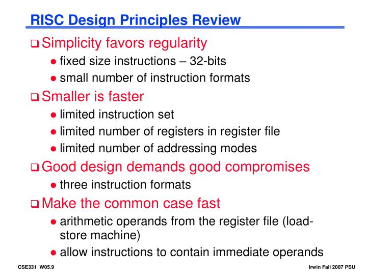 RISC Design Principles Review